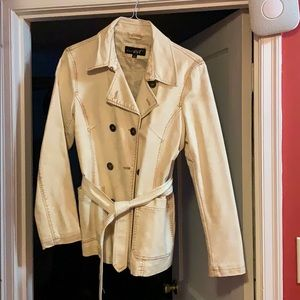 Off White Faux Leather Jacket